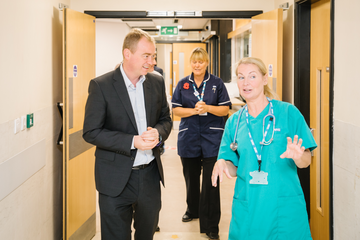 Tim during a recent visit to Westmorland General Hospital