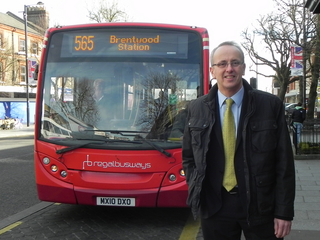 Cllr David Kendall campaigning for Brentwood bus services