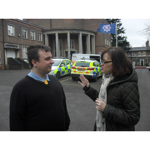 Cllr Karen Chilvers at Brentwood Police station in 2016 with Kevin McNamara, Police Commissioner Candidate (Stephen Robinson)