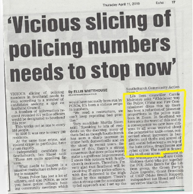 Leigh Times article on policing 11 April 2019 ()