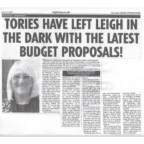 Carole Mulroney writes in the Leigh Times 19 March 2019 (Carole Mulroney)