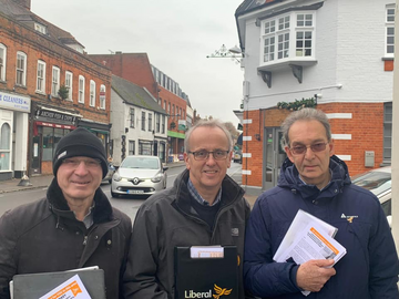 Darryl Sankey (R) in Ingatestone in November, visiting residents to discuss local issues with Cllr Mark Lewis and Cllr David Kendall