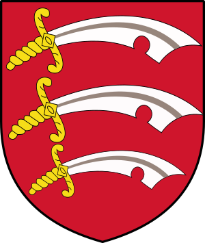 Flag of Essex - By User:MrWeeble [GFDL (http://www.gnu.org/copyleft/fdl.html), CC-BY-SA-3.0 (http://creativecommons.org/licenses/by-sa/3.0/) or CC BY-SA 2.5-2.0-1.0 (https://creativecommons.org/licenses/by-sa/2.5-2.0-1.0)], via Wikimedia Commons